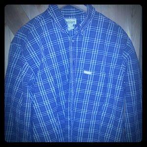 Men CARHARTT Blue  Plaid Heavy Cotton Button Down